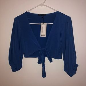 Blue Boohoo Crop Top